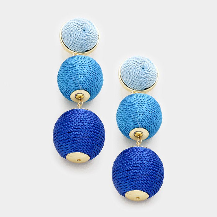 Blue Double Thread Ball Earrings Sasmooty S Denim